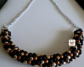 """Beaded Kumihimo cluster necklace with silver chain, """"Copper Blends"""""""