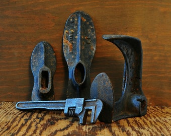 Antique Shoe Lasts Photo, Cobbler shop.  Home decor, Wall decor, vintage decor, rustic decor