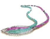 CLEARANCE Leaf Necklace Beadwoven in Pink/Green with Swarovsky Crystal & Pearls