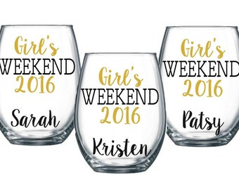5 Girl's Weekend Stemless Wine Glass