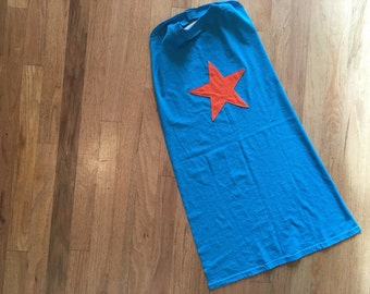 Kids Super Hero Cape - Turquoise Cape with Orange Star