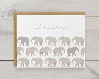 Elephant Stationery, Elephant Notecards, Custom Elephant Stationary, Personalized Stationery, Animal Stationery, Watercolor Cards, Set of 10