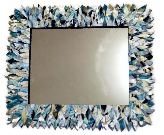 "Medium Blue Black and White Mirror, Leather Feather Bathroom Mirror like Anthropologie 17"" x 20"""