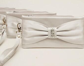 Silver grey  bow wristlet clutch ,bridesmaid clutch , clutch ,Evening bag ,SET OF, 1,2,3,4,5,6,7,8,9,10,11,12