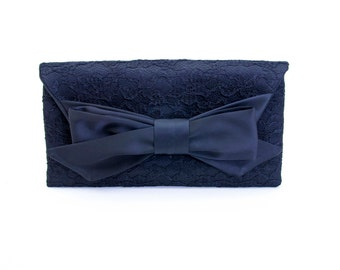 Big sale - Navy  envelop  lace clutch bridesmaid gift  envelop clutch wedding clutch,Evening bag