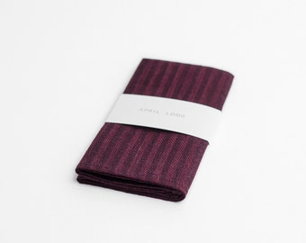 Merlot red pocket square, striped pocket square, MADE TO ORDER