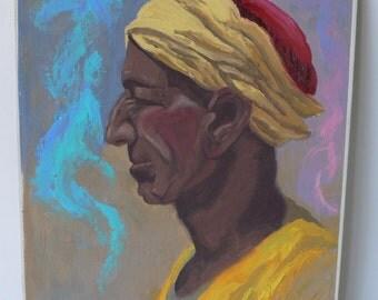 vintage painting on board, man in turban, dark skin man,, from Diz Has Neat Stuff