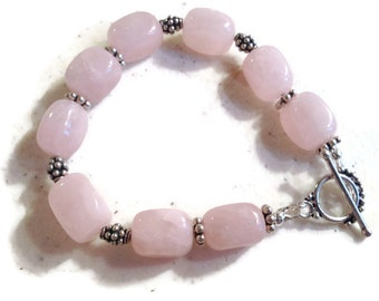 Pink Bracelet - Sterling Silver Jewelry - Pink Rose Quartz Gemstone Jewellery - Handmade - Beaded