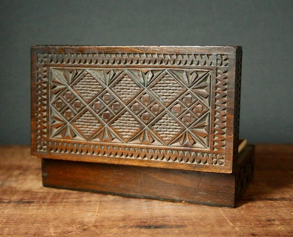 Russian carved box chip carving folk art