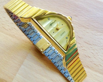 Afterthoughts vintage Art Deco watch asymmetrical watch ladies classic wrist watch gold dial gold toned case
