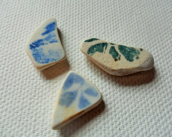 3 pretty small sea pottery patterned pendants - Lovely English beach find from Lancashire