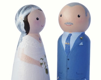 Custom hand painted bride and groom in vintage outfits wedding decoration - peg doll cake topper