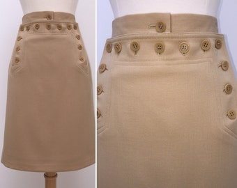 Vintage 1980s Emanuel Ungaro Wool Skirt with Button Detailing Waist 28.5""