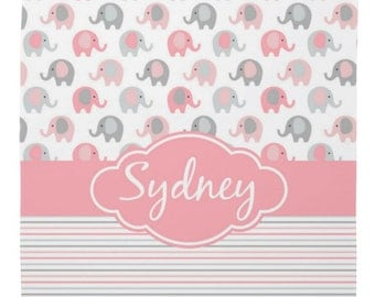 """Personalized Soft Fleece Swaddle Blanket - Baby Elephants in Pink and Gray - 29"""" X 39"""""""