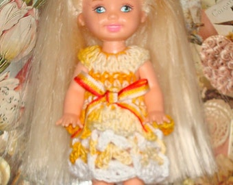 Handmade Crochet Dress For Kelly Barbie number  1045