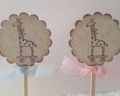 Set of 12 Giraffe Cupcake Picks - Cupcake - Food Picks - Baby Shower