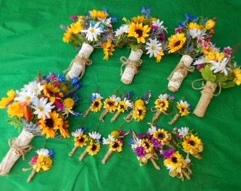 11 pc.Silk Wildflower Bridal Bouquet Flower Set. Bridesmaid Bouquets, Boutonnieres. Burlap lace Rustic Boho Country Barn Wedding