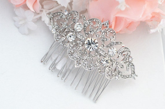 Bridal Crystal Pearl Hair Comb. Vintage Rhinestone Flower Jewel Wedding Headpiece