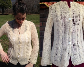 Italian Wool Vintage Sweater Cardigan / White Wool Sweater / Vintage Summer Cardigan / Hand Made Italy / Button Up Cardigan / Size S