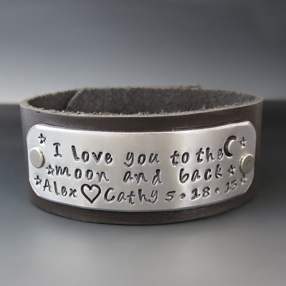 Personalized I Love You To The Moon and Back Custom Bracelet / Women's Leather Cuff / Hand Stamped / Gifts for Mom / Mother's Day Gifts