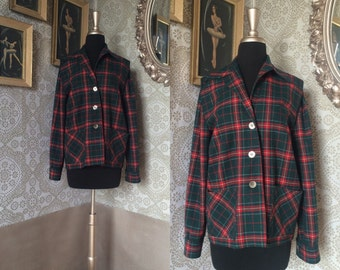 Women's Vintage 1940's 50's Red and Green 49er Jacket M/L