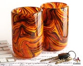 Set of Two Hand Blown Glass Tumblers - Dark Hot / Fall Color Swirls