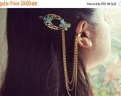 VALENTINES DAY SALE Sale - Blue Butterfly Circle Hair Ornament Clip Ear Cuff