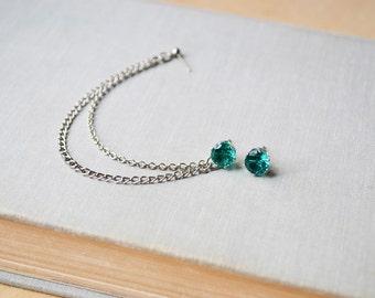 Aquamarine Blue Double Chain Cartilage Earrings (Pair)