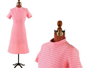 Vintage 1960's Bubble Gum Pink + White Narrow Pin Stripe Mod Shift Scooter Retro Dress M