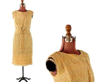 Vintage 1960's Sheer Golden Crochet Lace Two Piece Cocktail Bow Tie Hourglass Dress Set M