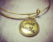 ON SALE Gold Expandable Bangle Bracelet Just Breathe - Charm Bracelet - Add a Swarovski Birthstone - Gold Charm Bracelet
