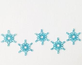 Snowflake, 5 beaded snowflakes, handmade snowflakes, Christmas tree decorations, Christmas decorations, Christmas time, winter decorations