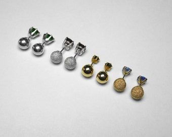 Ball-Back Stud Earring Backs in Silver and Gold, 7 mm