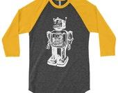 Vintage Sci-Fi Robot Baseball Tee American Apparel T-Shirt Geek Geekery Nerd Science Robotic Mens Womens Ladies Guys Husband Gifts Present