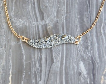 Crushed Crystal Druzy Swerve Necklace