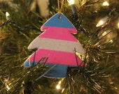 Transgender Christmas Sparkle Tree Ornament LGBT Pride Holiday Gift Trans Flag
