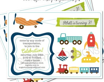 Transportation Party Invitation, Planes, Trains and Automobiles Invitation - 5x7 Printable