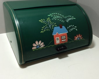 Vintage Metal Bread Box, Ransburg Metal Roll Top Bread Box, Green Bread Box, Hand Painted Bread Box with House, Tree's, and Flowers 1950s