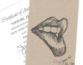 Ooooh, Hot, Original Pen and Ink sketch, lips, unframed