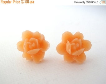 SALE Peach Earrings, Orange Earrings, Flower Earrings, Stud Earrings, Tangerine Earrings, Rose Studs, Bridesmaid Gifts, Bridesmaid Earrings