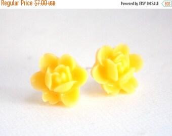 SALE Yellow Earrings, Stud Earrings, Flower Earrings, Post Earrings, Bridesmaid Gifts, Bridesmaid Earrings, Bridesmaid Gifts