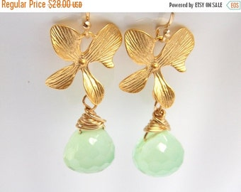 SALE Green Earrings, Mint, Apple Green, Chalcedony Earrings, Gold Orchid Earrings, Gold Filled Earrings, Bridesmaid Gifts, Bridesmaid Earrin