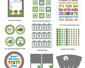Ninja Turtle Party Pack, Ninja Turtle Party, Printable, Instant Download, Digital