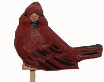 1 pc 3 3/4 Inch Wood Cardinal on Pick (Alonzo) CLOSEOUT PRICE!