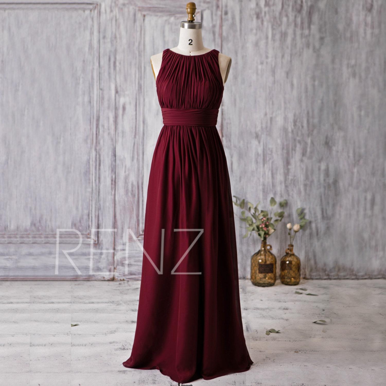 2016 wine red bridesmaid dress scoop neck wedding by renzrags With wine wedding dress