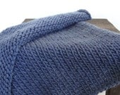 Denim Knitted Chunky Mini Blanket/ Mat/ Basket Stuffer Photo Prop, Wool Baby Blanket, Any Color