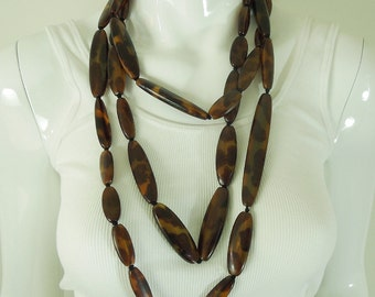 Huge Monies Horn Necklace 84 Inches Faux Tortoise Statement Hand Knotted