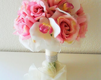 Shade of Pink Orchid and Roses Bridal Bouquet
