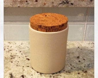 Ceramic Canister - Porcelain and Cork. Modern Kitchen Pottery Canister. Kitchen Gift Idea. Housewarming