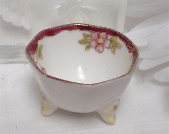 Nippon Floral Salt Cellar Footed Gold Gilding Hand Painted